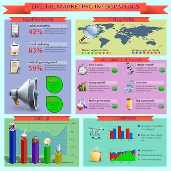 デジタルマーケティング管理のインフォグラフィックレポートレイアウト