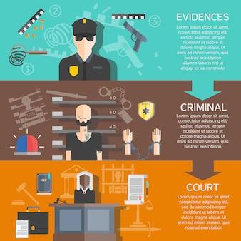 正義と裁判所のバナーセット
