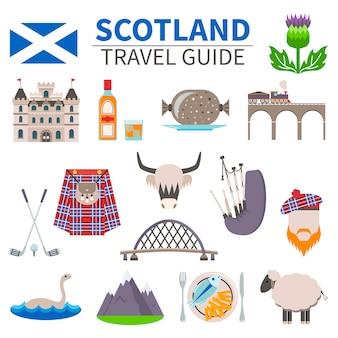 スコットランドの旅行のアイコンセット