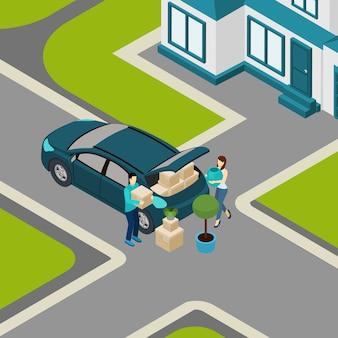 住宅アイソメトリックバナーから移動する人々