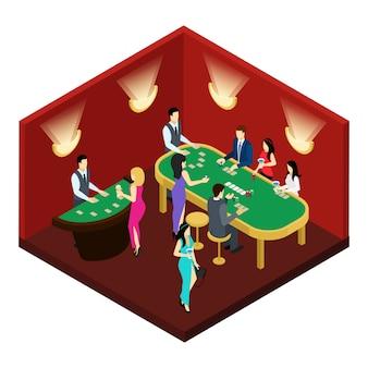 Покерная изометрическая иллюстрация