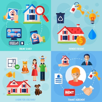 Набор иконок для аренды и аренды