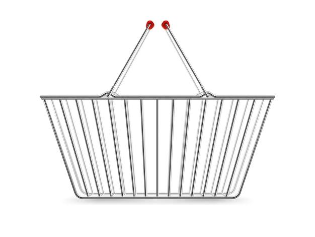 Металлическая корзина для покупок пустая реалистичная пиктограмма