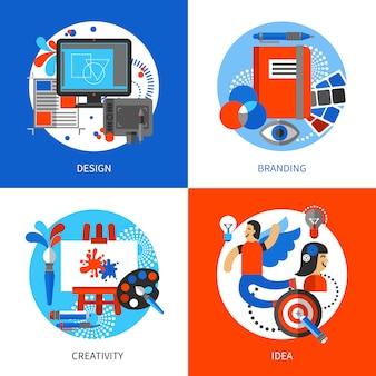 Набор значков творческой концепции