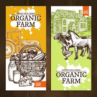 Органическая ферма вертикальные баннеры