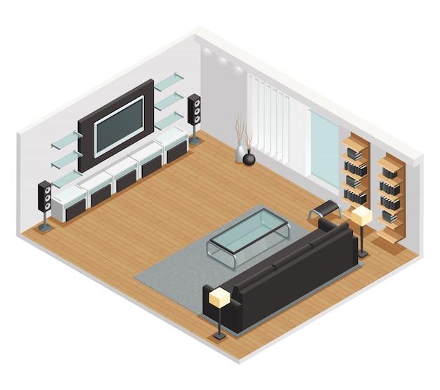 Интерьер гостиной в изометрической проекции с большим жк-телевизором, кожаным диваном и журнальным столиком.