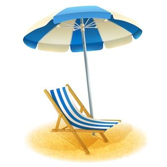 Шезлонг с зонтиком иллюстрации