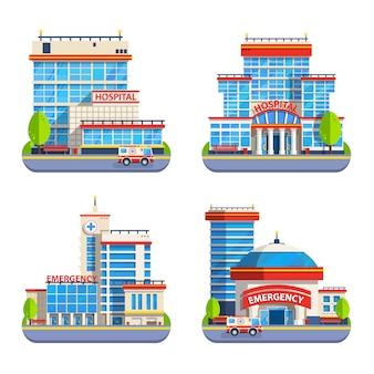 Больница с плоским изолированные иконки