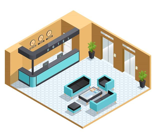 Цветная изометрическая иллюстрация, изображающая интерьер зала