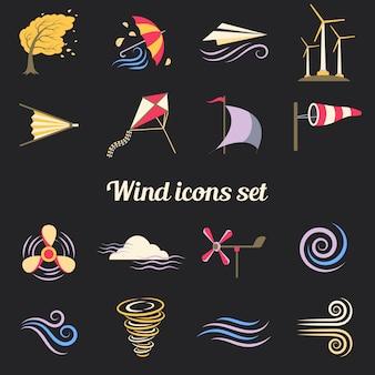 Ветер цвет плоские иконки