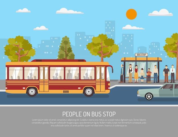 公共交通機関バスサービスフラットポスター