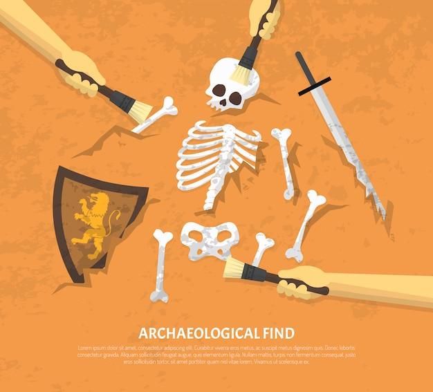 発掘された遺跡発見フラットイラスト