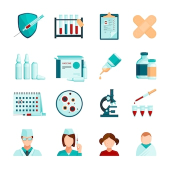 予防接種色の医療スタッフの若い患者顕微鏡チューブと薬瓶のアイコンを設定