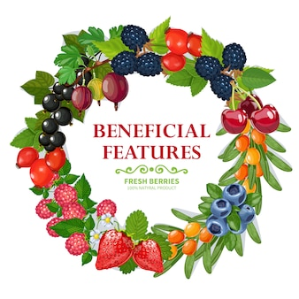 Декоративная рамка венок из свежих натуральных ягод