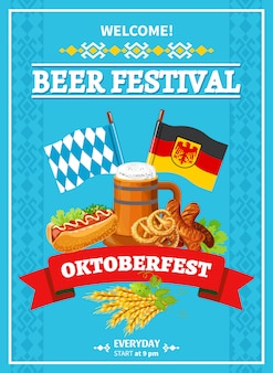 Плакат с приветственной квартирой на фестивале октоберфест