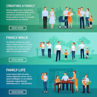 家族の水平方向のバナーセット