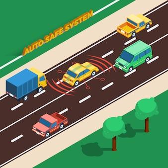 Авто безопасная система иллюстрация