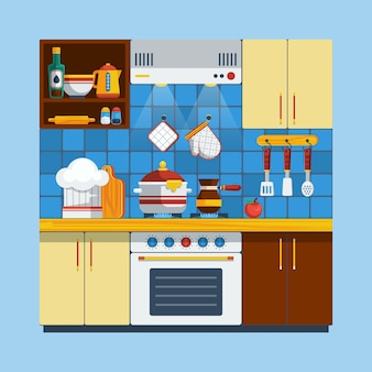 Кухонный интерьер иллюстрация