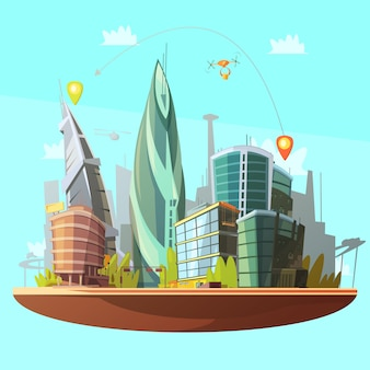 近代的な都市のダウンタウンの建物図