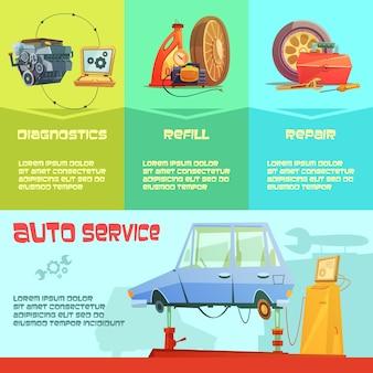 自動サービスのインフォグラフィックイラスト