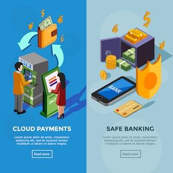 Изометрические вертикальные банковские баннеры
