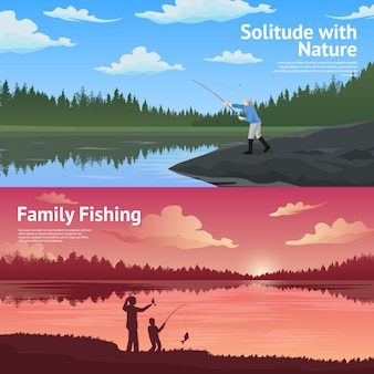 家族釣り水平方向のバナーセット