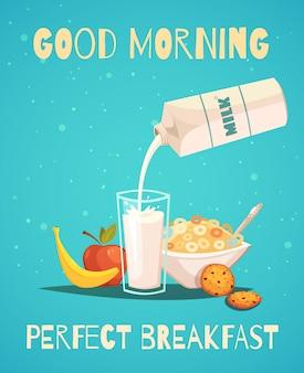Идеальный завтрак постер в стиле ретро