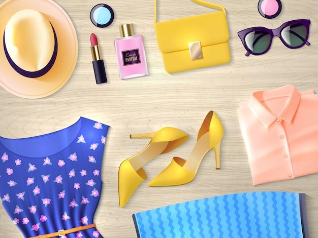 Женская одежда набор плоский иллюстрация