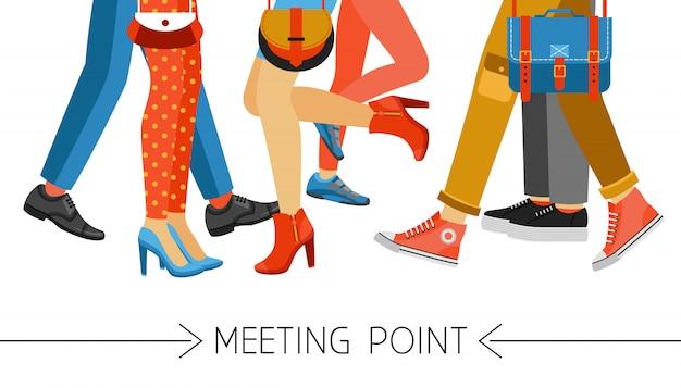 男性と女性の足と履物