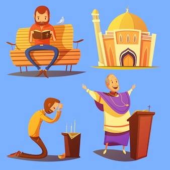 Набор иконок мультфильм религии