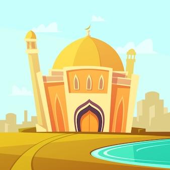 都市の近くの川沿いの芝生とモスクの建物