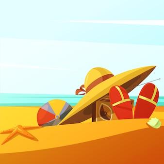 ビーチは帽子ボールラジオとスリッパの背景を着ています。