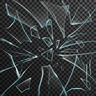透明な割れたガラスのリアルな破片