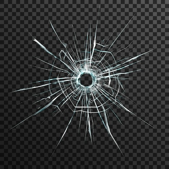 Пулевое отверстие в прозрачном стекле на абстрактном фоне с серым и черным орнаментом