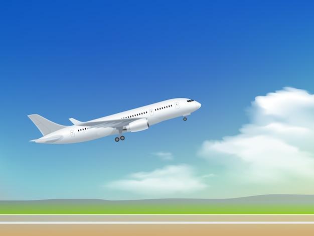 Самолет взлетающий плакат