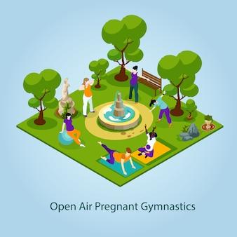 妊娠中のイラストのための野外体操