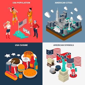 アメリカの観光概念のアイコンを設定