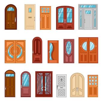 Набор подробных красочных входных дверей
