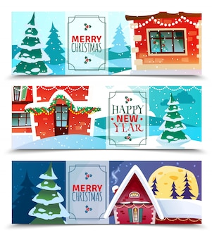 Рождественские горизонтальные баннеры