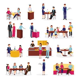 Люди в ресторане плоский набор иконок