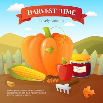 カボチャと野菜の作物や果物の収穫