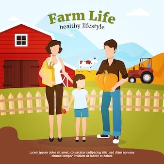 農場で秋の収穫時に健康的なライフスタイルをリードする家族