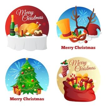 Плоская коллекция икон рождественской вечеринки с поздравлениями подарками и ужином