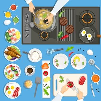 キッチンの料理と道具