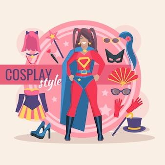 服と魔法のアクセサリーを持つ少女のためのスーパーヒーローコスプレキャラクターパック
