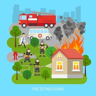 Пожарные на работе концепция плоский плакат