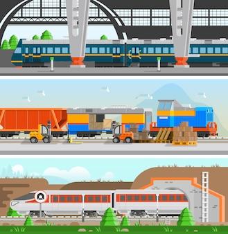 Железнодорожный транспорт горизонтальные плоские баннеры