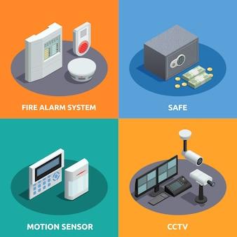 Домашняя безопасность изометрические набор карт