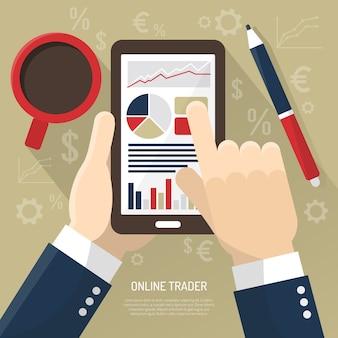 Фондовый рынок на смартфоне иллюстрации
