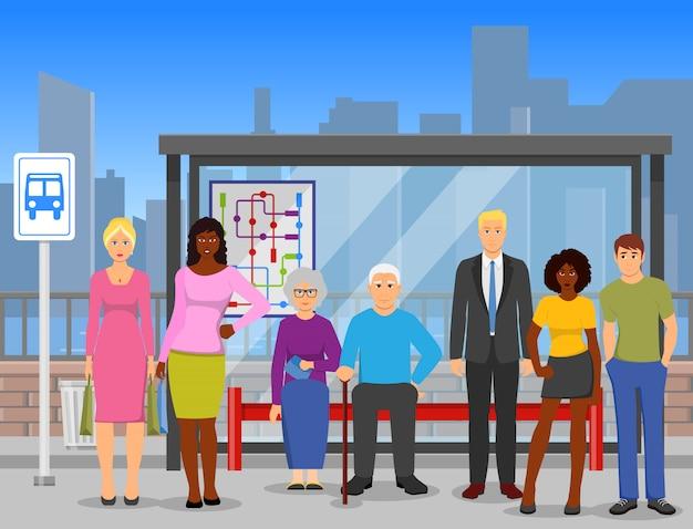 Толпа автобусная остановка плоская композиция плакат